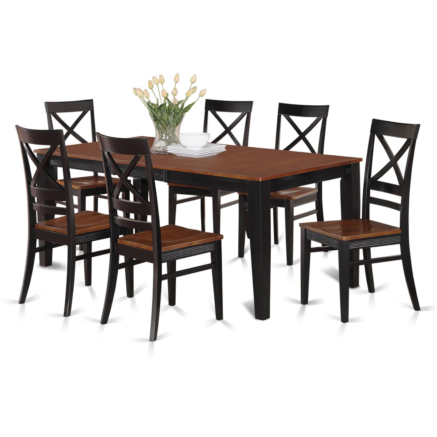 amazon com east west furniture quin7 whi w 7 piece formal dining