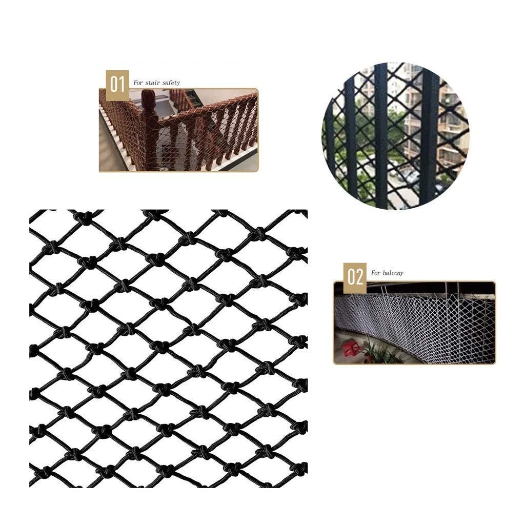 Black Nylon Rope Net, Family Balcony Sill Kindergarten Children Baby Anti-Fall Net, Clothing Store Restaurant Wall Hanging Bridge Decoration Net, Grid 6mm 5cm (Size : 33M)