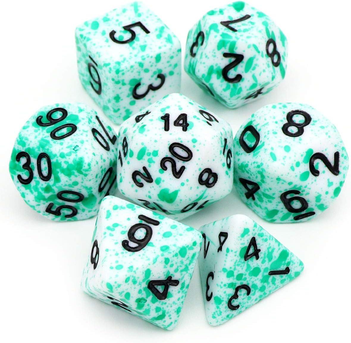 Haxtec DND - Juego de dados (7 unidades, poliedro verde moteado D&D para calabozos y dragones TTRPG, sangre verde): Amazon.es: Juguetes y juegos