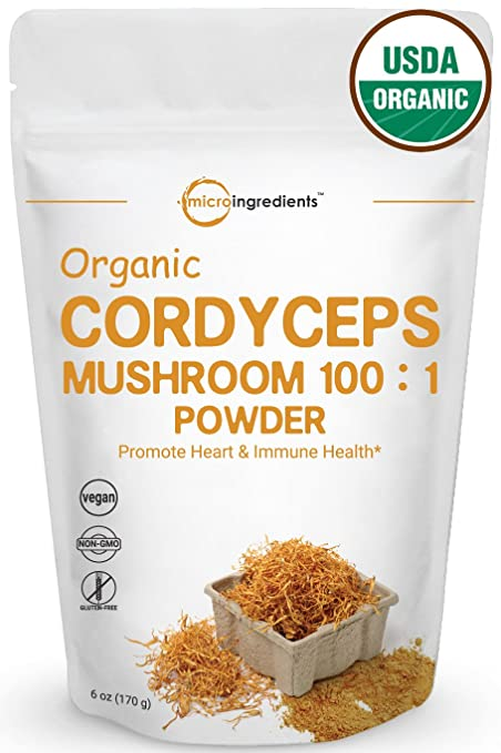 Maximum Strength Organic Cordyceps Mushroom 100:1 Powder, 6 Ounce, Powerful Immune System and Vascular Health Support. Non-Irradiated, Non-Contaminated, Non-GMO and Vegan Friendly