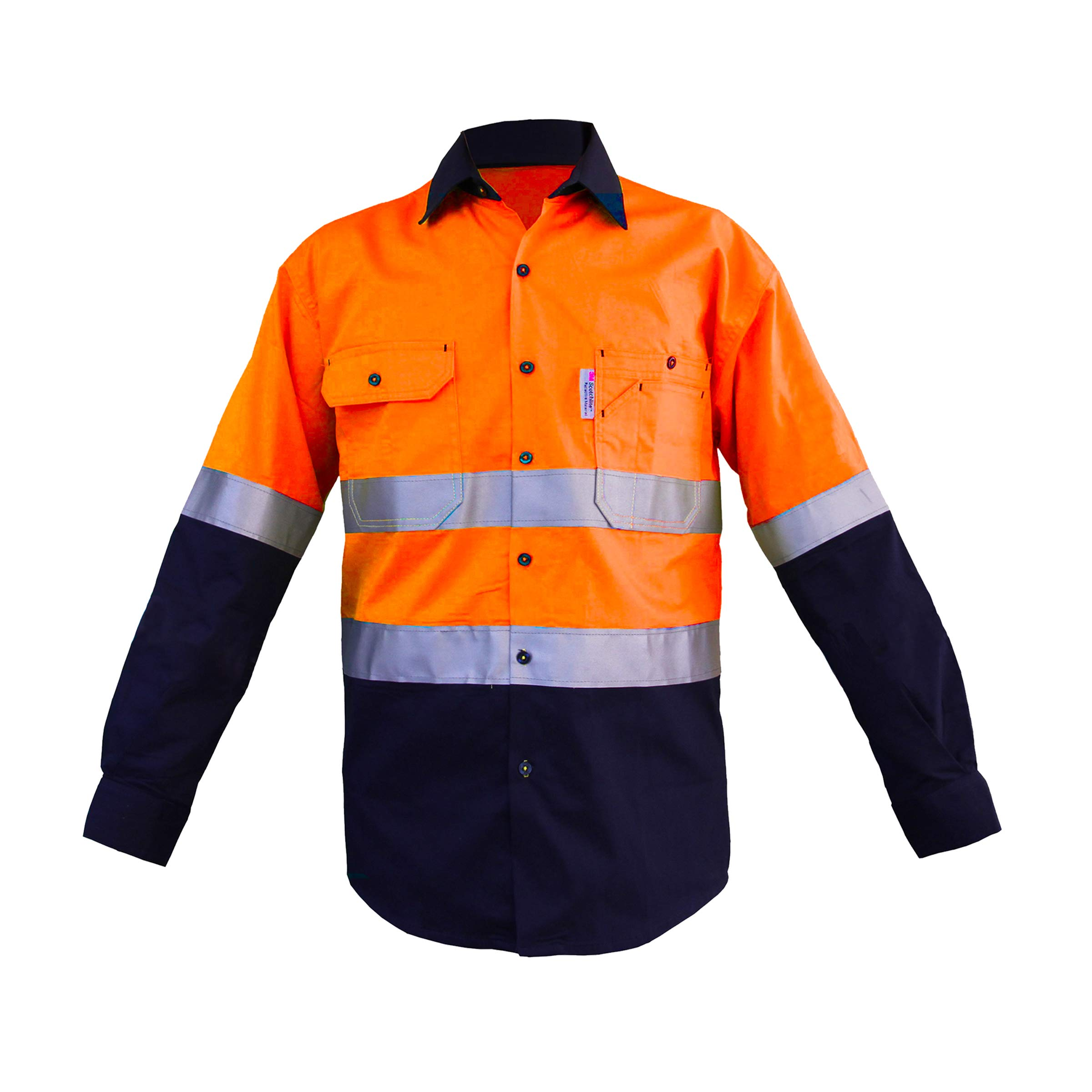 Construction Work Shirts for Men Fluorescent Orange/Navy, Button up Long Sleeve Safety Shirt Class 2 Level 155gsm pre-Shrunk 100% Cotton Drill (Medium)