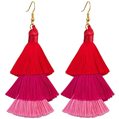 7be9a0a1183d5f Amazon.com: TUMBEELLUWA Colorful Layered Tassel Earrings Hook Tiered Thread  Dangle Drop Earrings, Red: Jewelry