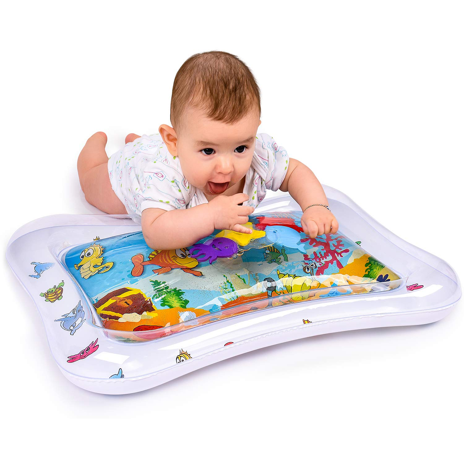 Adorable Tummy Time Mat For Infants | Colorful & Fun Inflatable Baby Water Mat | Leakproof PVC Water Filled Playmat For Newborns | Engaging & Stimulating Vibrant Play Activity Center | Unisex Design Hakol Products