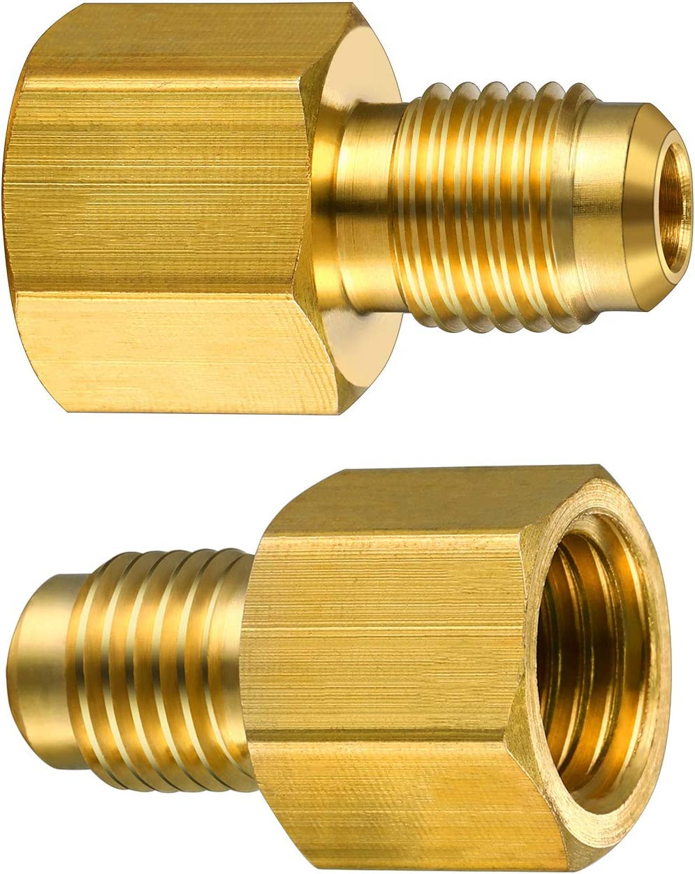 2 Pieces 6015 R134A Brass Refrigerant Tank Adapter to R12 Fitting Adapter 1//2 Female Acme to 1//4 Male Flare Adaptor Valve Core and 6014 Vacuum Pump Adapter 1//4 Inch Flare Female to 1//2 Inch Acme Male