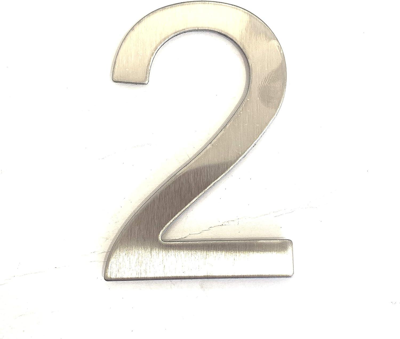 Número y letra de la calle, número de la puerta o número de la casa, de acero inoxidable Plata brillante, con soporte adhesivo, de 76 mm de altura (2)