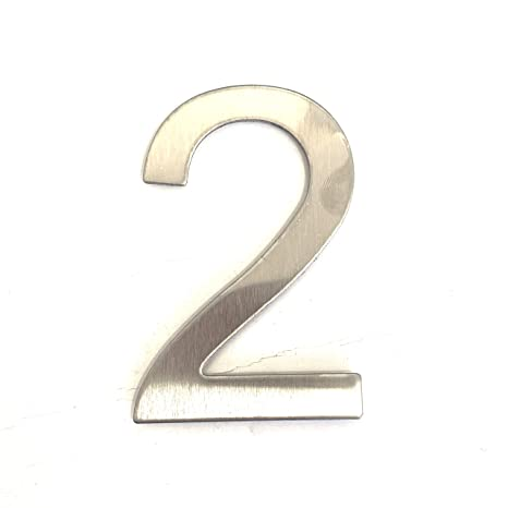 Número de la calle, número de la puerta o número de la casa, en la cifra 2, de acero inoxidable, con soporte adhesivo, de 7,5 cm de altura (2)