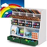 Pen Pencil Organizer for Desk Cute, Desktop Organizer with 14 Compartments & 2 Drawers, 800+ Pencils Capacity, Full FSC Certi