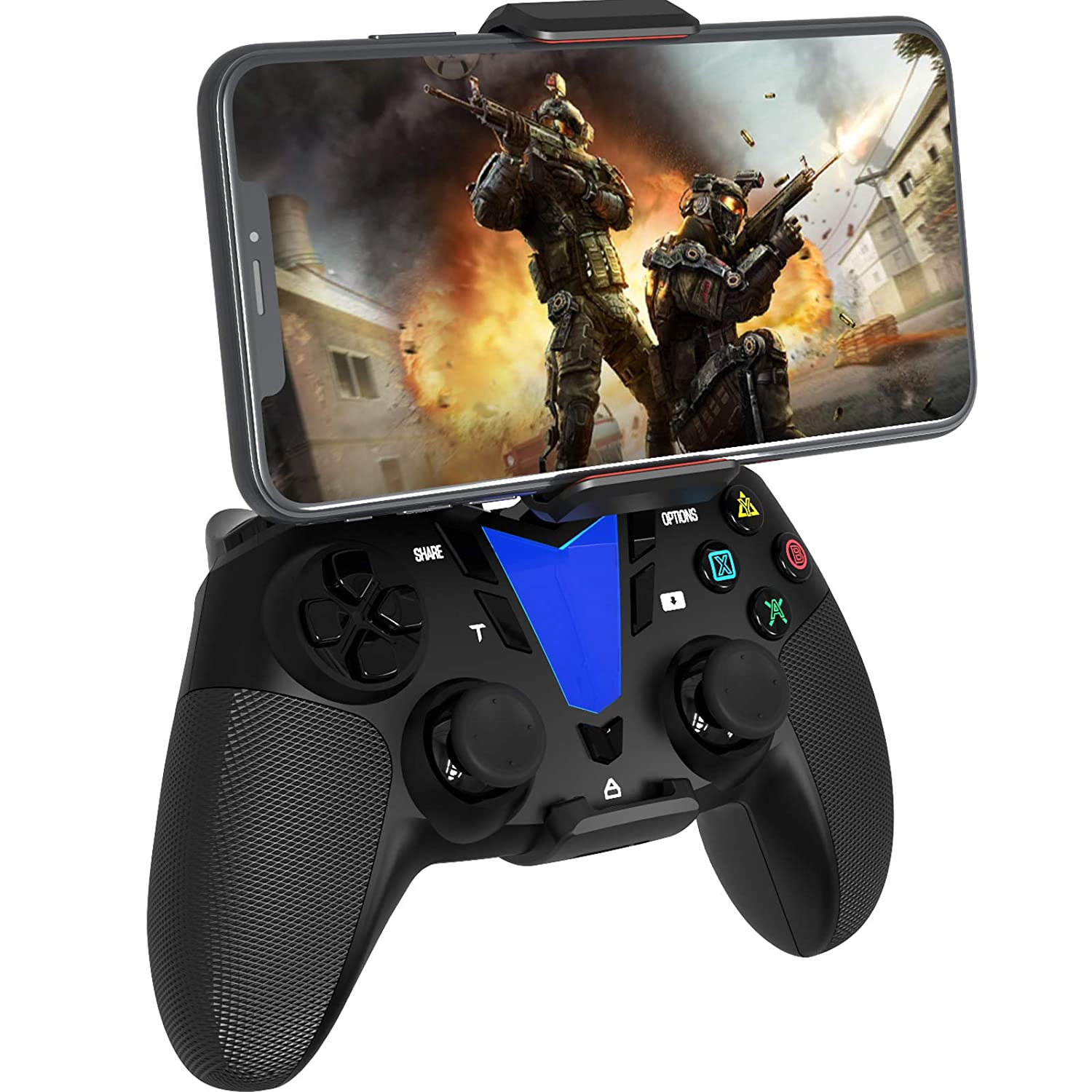 Wireless Bluetooth Mobile Game Controller for iOS 13 and Above / Android OS 10 and Above / Mac OS / tv OS / PC Windows 7, 8, 10, Steam / PS4 with Phone Clip