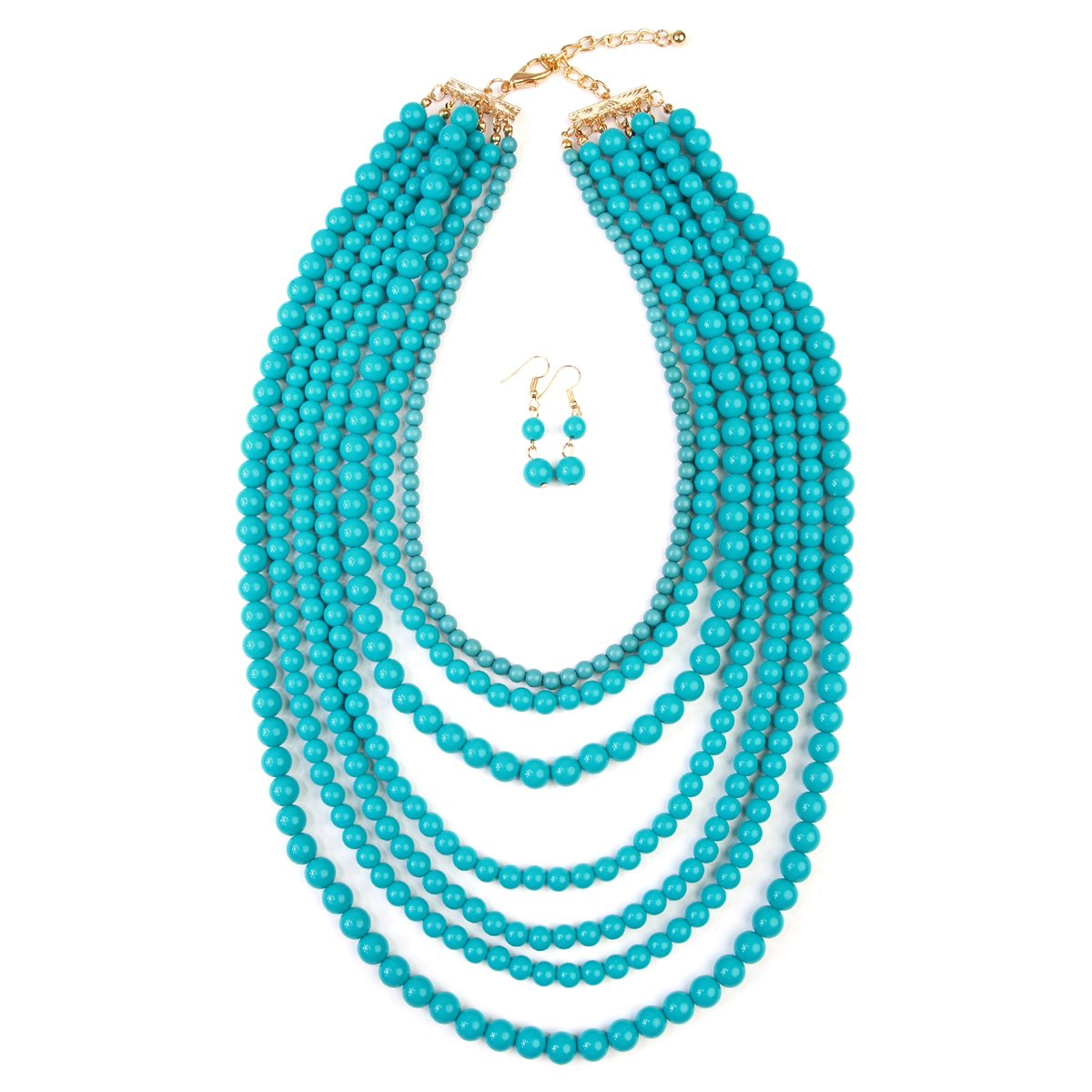 MYS Collection Women's Popular Layered Bubble Statement Necklace Set - Colorful Bead Multi Strand Necklace (Light Turquoise) by MYS Collection