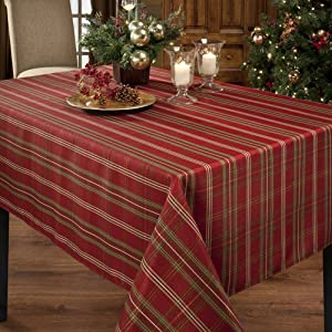 Benson Mills Christmasville Metallic Fabric Tablecloth, 60-Inch-By-104 Inch
