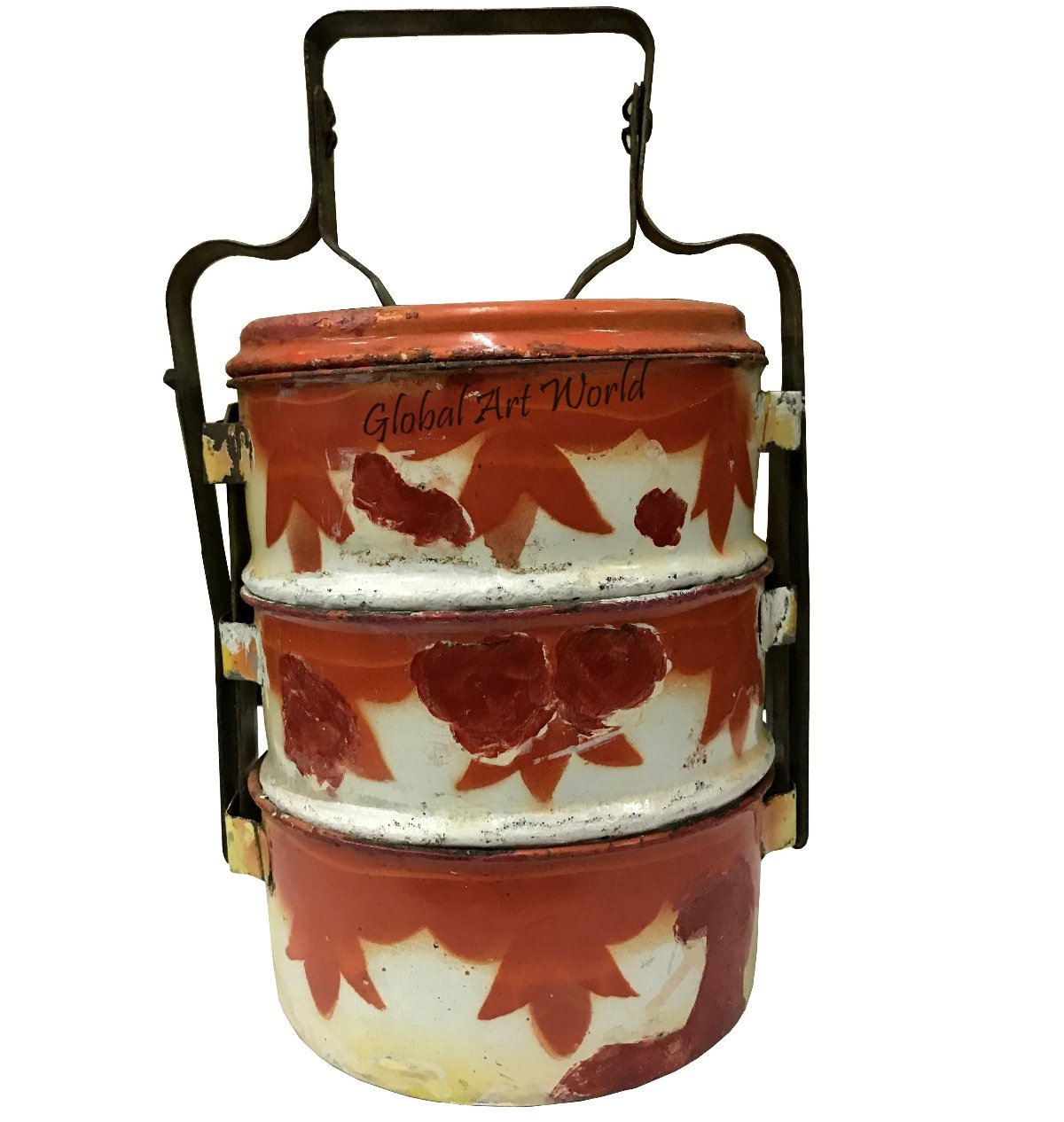 "Global Art World Beautifully Designed Antique Memorable Collectible Sophisticated ""Dabbas"" With Red Flowers Design In A Triple Decker Tiffin Box And Case For Food And Products HB 0192"
