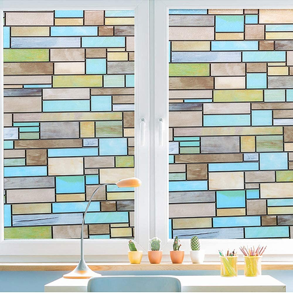 Privacy Window Covering, Stained Glass Effect Window Film No Adhesive Static Cling for Glass Window Decor, Bathroom, Kids Room, Sliding Door - Waterproof, Easy Removal (Bricks, 35.4x78.7 Inches)