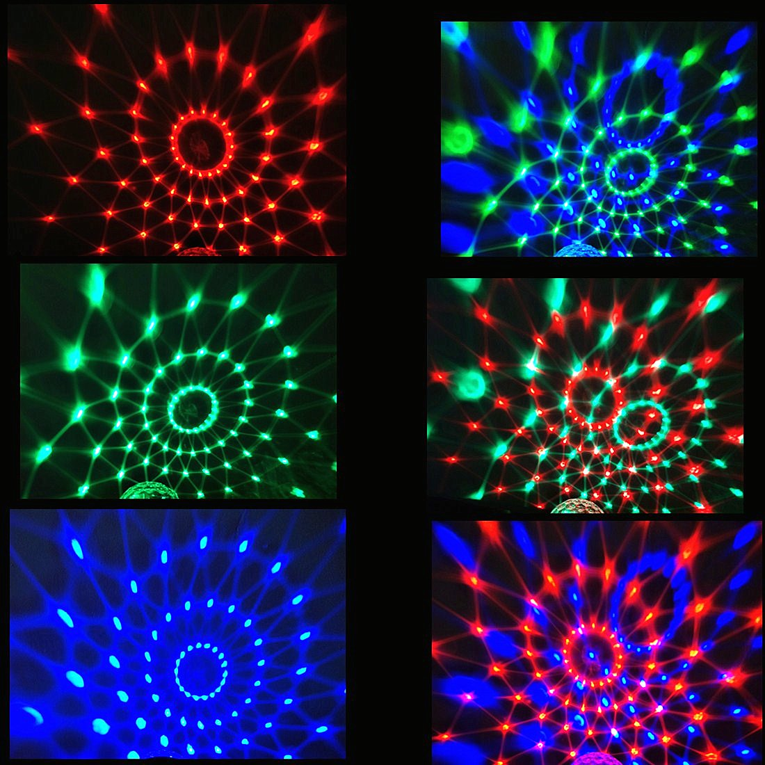 Disco Ball Color Changing Sound Activated Rotating Crystal Magic Ball Projector Stage Effect 7 color with Remote Control for KTV Club Bar Home Party
