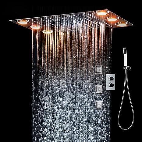 Sistema de ducha, luces LED y ducha de mano, mando a ...