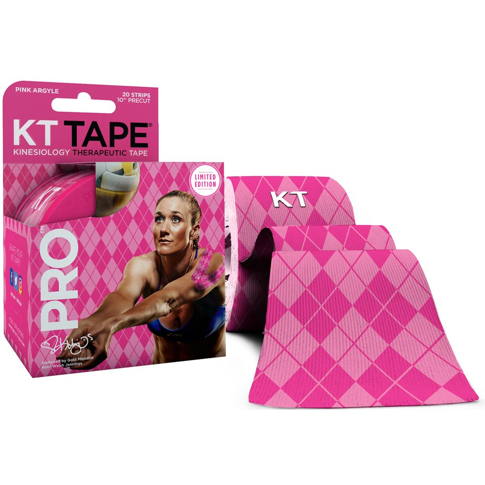 KT TAPE PRO Elastic Kinesiology Therapeutic Tape - 20 Pre-Cut 10-Inch Strips (Pink Argyle)