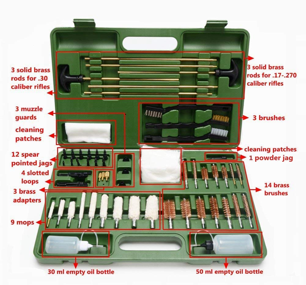 GLORYFIRE Universal Gun Cleaning Kit Hunting Rifle Handgun Shot Gun Cleaning Kit for All Guns with Case Travel Size Portable Metal Brushes by GLORYFIRE (Image #4)