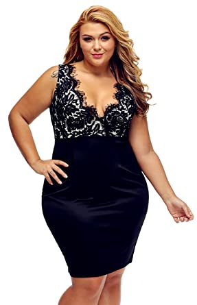 RwalkinZ Womens Plus Size Sexy Dresses Cocktail Crochet Sleeveless Deep V-Neck M-4XL