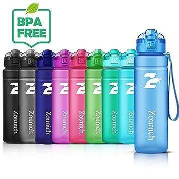 ZOUNICH Botella Deportiva bpa Reutilizable tritan plástico - Filtro Protector no tóxico - 500 ml/