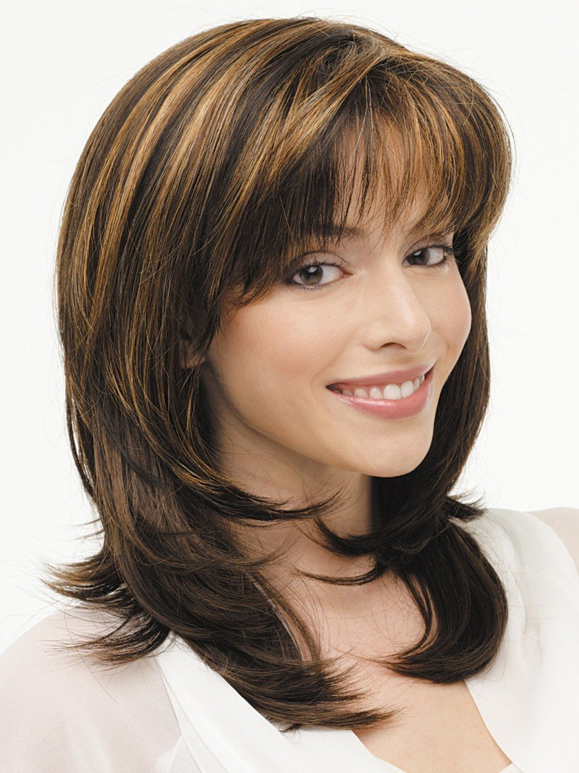 Kalyss Women's Wig with Bangs Medium Long Natural Layered Highlights Synthetic Black Blonde Hair Wigs