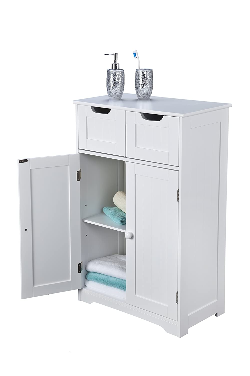 Elegant Brands Ltd Bathroom Cabinet, Wood, White, 83cm H x 56cm W x 30cm D IW-40215