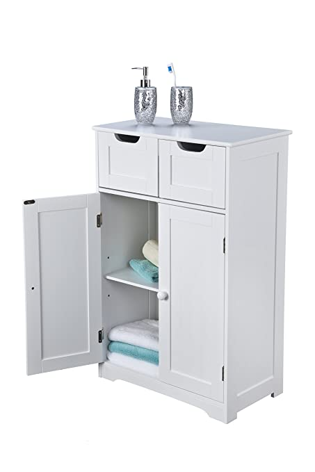 4a692f1fe15b Bathroom Cabinet Storage - Double Doors, Scandinavian Inspired, White  Wooden and Freestanding, suit