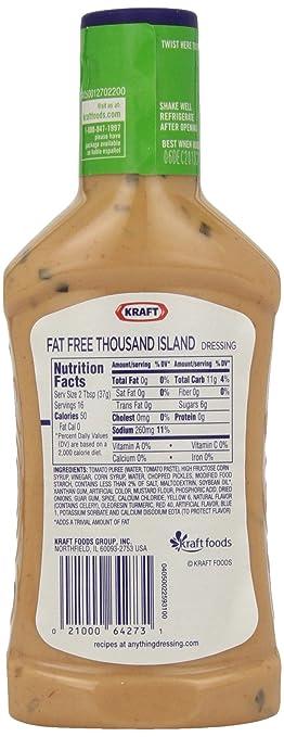 Amazoncom Kraft Free Thousand Island Fat Free Dressing 16 Ounce