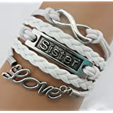 ACUNION™ Handmade Owl Cross Heart Birds Healing Dragon Dog Believe Heart Dragonfly Sister Friendship Gift Leather Bracelet