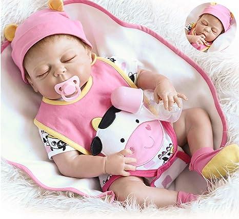 "22/"" Reborn Baby Dolls Lifelike Baby Full Silicone Anatomically Correct Bath Toy"