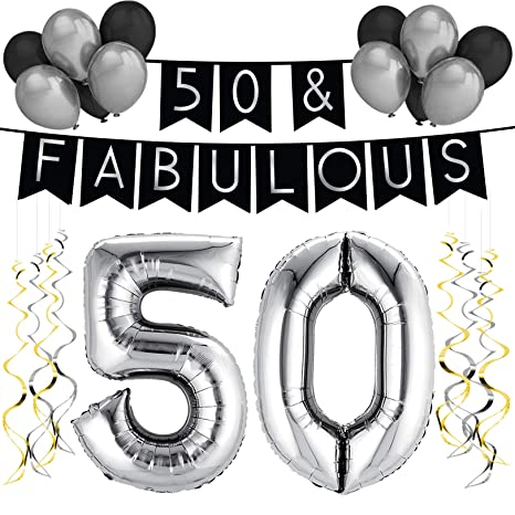 50 Fabulous Birthday Party Pack Black Silver Happy Bunting Balloon