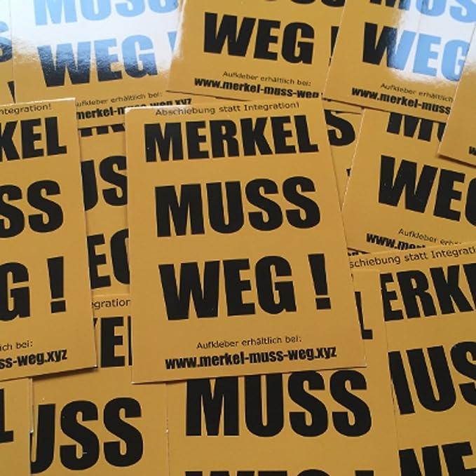 Merkel Muss Weg Orange Aufkleber 100 Stück Anti Merkel Sticker In Hochwertiger Qualität Für Den Außenbereich Geeignet Zeig Jedem Das Angela Merkel Nicht Deine Kanzlerin Ist Küche Haushalt