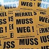 Merkel muss weg (Orange) Aufkleber (100 Stück)   Anti-Merkel Sticker, Merkel muss weg! Aufkleber in hochwertiger Qualität für den Außenbereich geeignet. Zeig jedem das ANGELA MERKEL nicht deine Kanzlerin ist.
