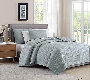 BOURINA Reversible Quilt Coverlet Set Queen - Microfiber Lightweight Bedspread 3-Piece Quilt Set, Aqua