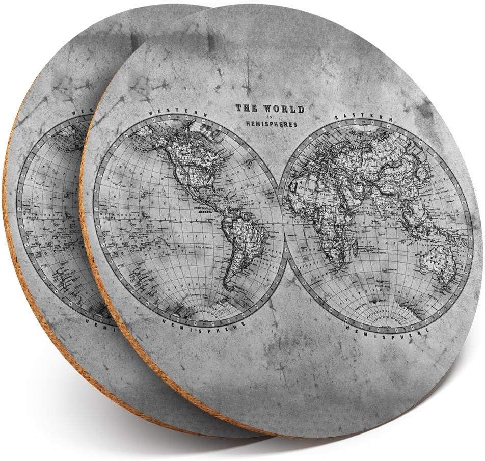 Destination Vinyl Ltd Lot de 2 dessous de verre ronds Motif carte du monde et h/émisph/ères Style vintage