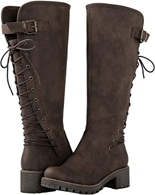 Lace Up Back Knee High Fashion Boots