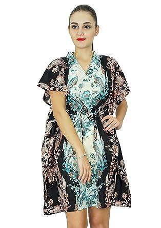 Bimba Caftan Robe Caftan Femmes Courtes en Coton Plage Couvercle jusqu à  imprimée a0613842cc6