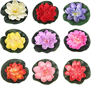 RONRONS 9 Pack Artificial Floating Foam Lotus Flowers with Water Lily Pad Ornaments, Colorful