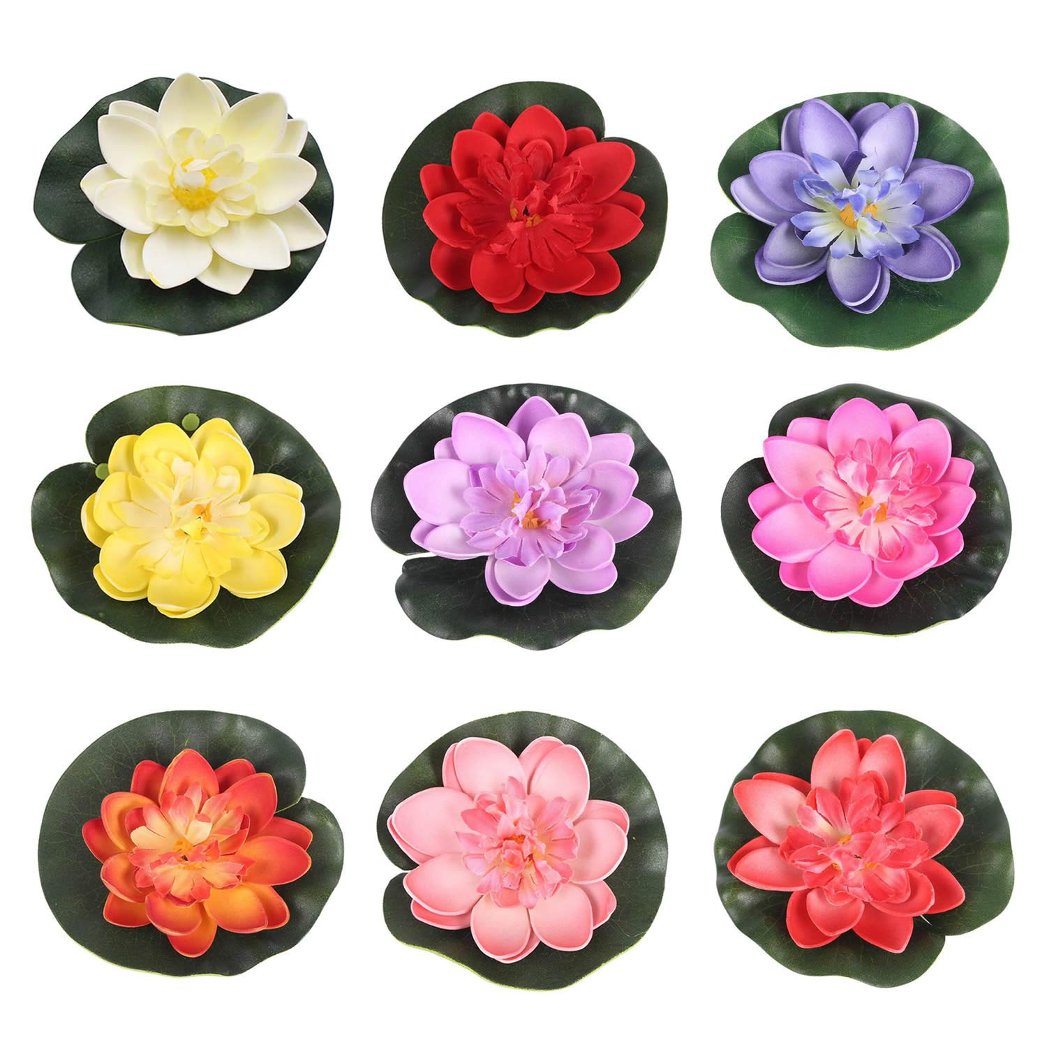 RONRONS-9-Pack-Artificial-Floating-Foam-Lotus-Flowers-with-Water-Lily-Pad-Ornaments-Colorful