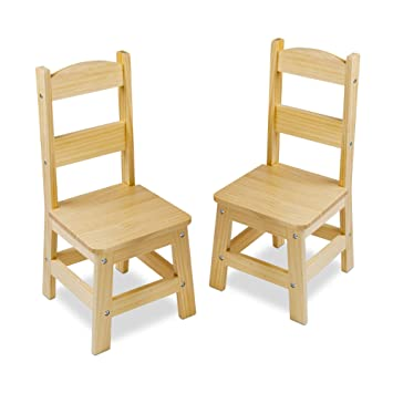 Astounding Melissa Doug Solid Wood Chairs Chairs For Kids Light Finish Furniture For A Playroom Durable Construction Set Of 2 Great Gift For Girls And Machost Co Dining Chair Design Ideas Machostcouk