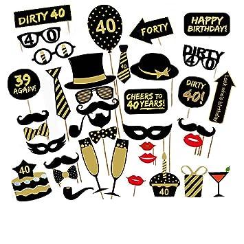 Veewon 40º Fiesta de cumpleaños Foto Cabina Accesorios Kit Divertido Unisex de 36pcs DIY Conveniente para su o el suyo 40o Apoyo de Photobooth de la ...