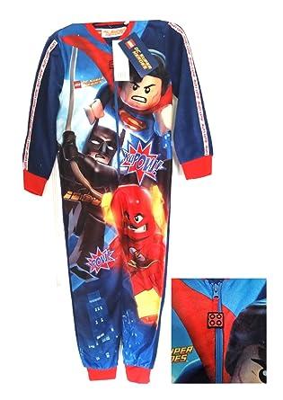 b2a3449feaeff Lego Onesie - Boys DC Comic Superheroes All-In-One Front Zipped Sleepwear *