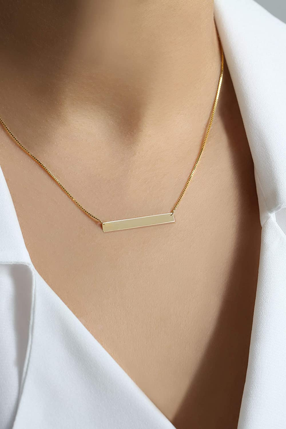 14k Solid White//Yellow Gold engravable Gold Vertical Bar Necklace 1 inch initial necklace celebrity nameplate pendant