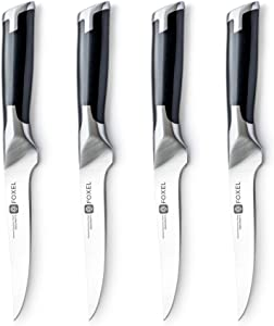 Steak Knives Knife Set of 4, 8, or 12 - Non Serrated Straight Edge Blade Razor Sharp - German 1.4116 Steel - Gift Box Set - Not For Dishwasher