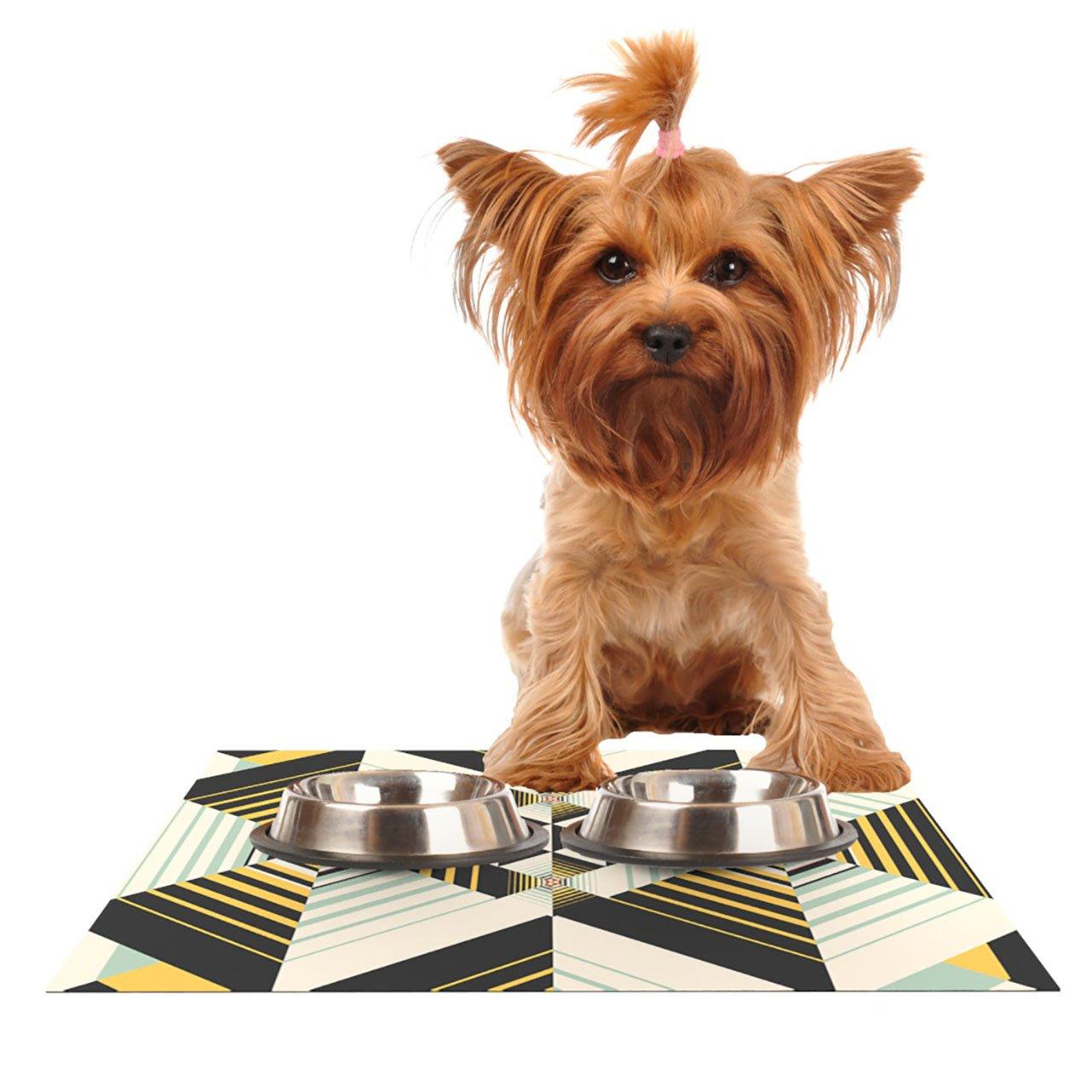 Kess InHouse Danny Ivan La Plus  Black Yellow Pet Bowl Placemat, 18 by 13-Inch
