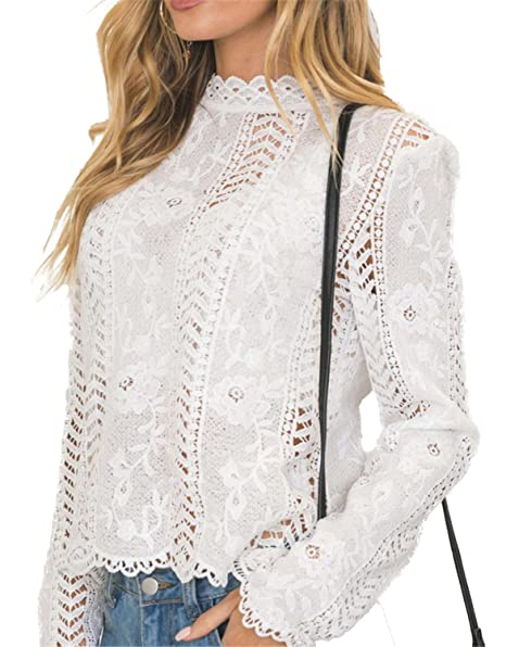 b6b8b75440b400 Jongood Stylish Women's Lace Blouse White Long Sleeved Blouses Slim Basic  Tops Hollow Outgh Neck Female New at Amazon Women's Clothing store: