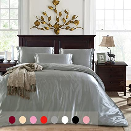 Silk Like Duvet Cover Set Queen Size 4 Piece With 1 Additional Flat Sheet  Silky Feeling