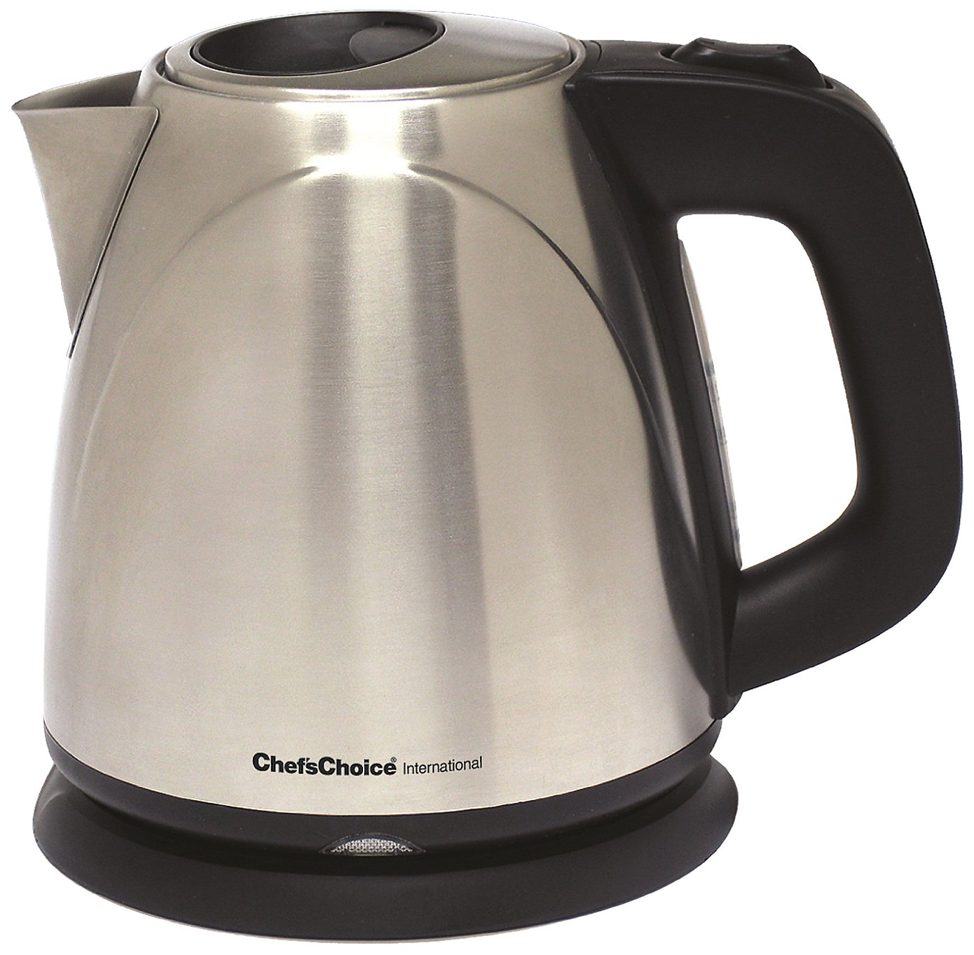 Chef sChoice 673 Cordless Compact Electric Kettle in Brushed Stainless Steel Features Boil Dry Protection and Auto Shut Off Easy Pour, 1-Liter, Silver