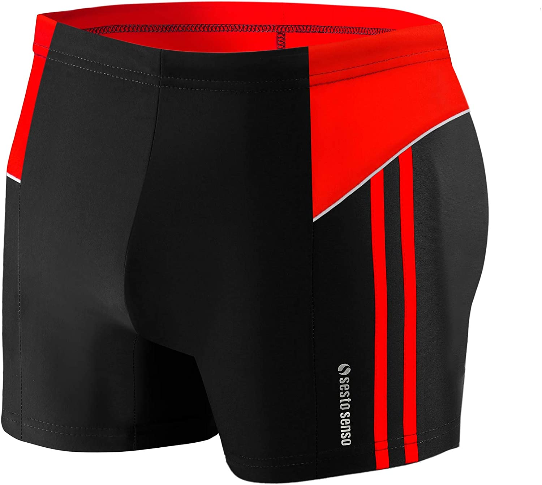Sesto Senso Herren Badehose Schwimmhose M bis 4XL Enganliegende Bademode Swimming Shorts BD 384 L, Schwarz