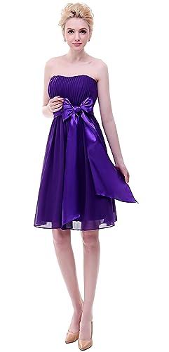 BISLU Sweetheart Chiffon Prom Party Short Bridesmaid Dress