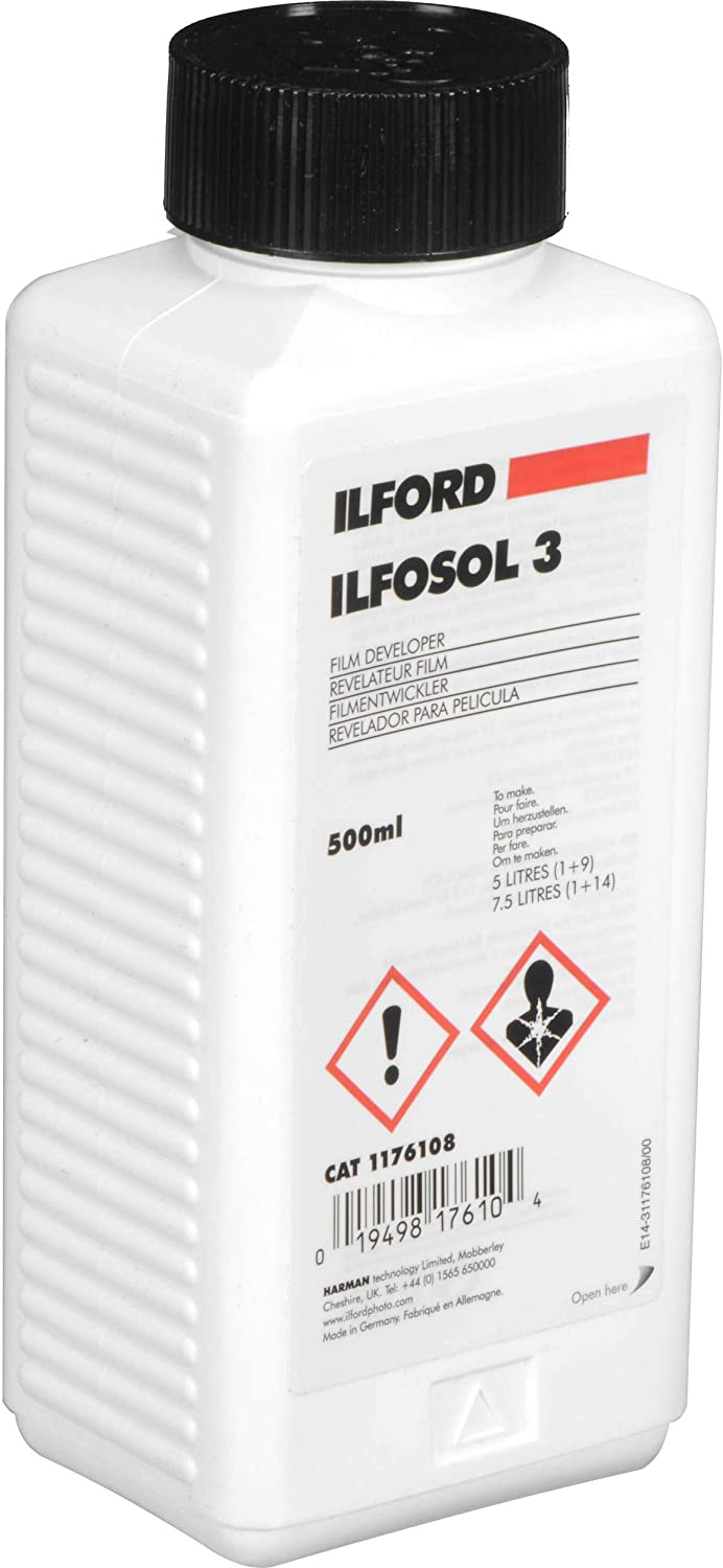 Ilford Ilfosol-3 General Purpose Developer for Black & White Film, Liquid Concentrate 500 Milliliter Bottle.