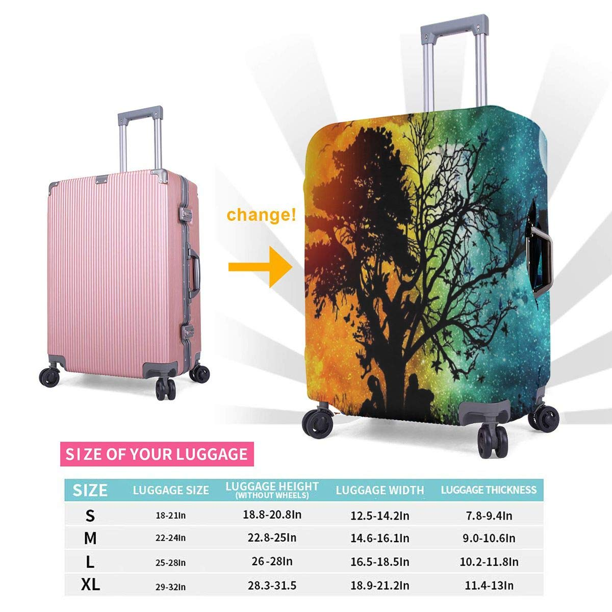 My Day Is Your Night XL Luggage Cover Elastic Travel Suitcase Protector Fits 18-32 Inch